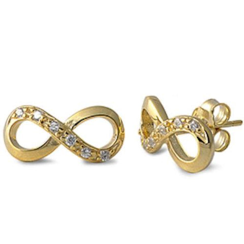 New Infinity Cubic Zirconia Yellow Gold Plated 925 Sterling Silver Stud Earrings