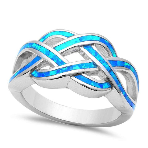 Celtic Infinity Lab Created Blue Opal Crisscross 925 Sterling Silver Ring Band