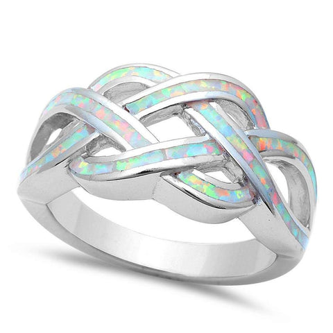Celtic Infinity Lab Created White Opal Crisscross 925 Sterling Silver Ring Band