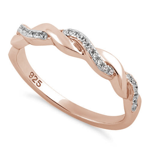 Sterling Silver Rose Gold Braided Clear CZ Ring