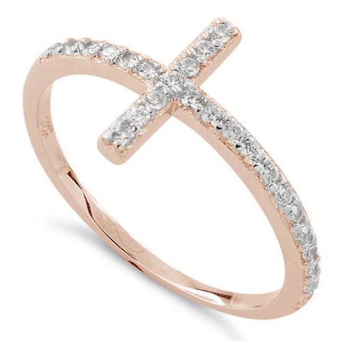 New Rose Gold 925 Sterling Silver Cross Clear CZ Ring