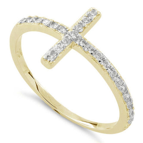 New Yellow Gold 925 Sterling Silver Cross Clear CZ Ring