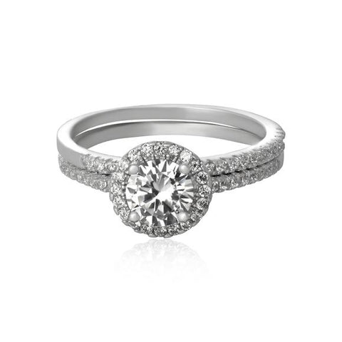 New Round Cubic Zirconia 925 Sterling Silver Wedding Ring Set