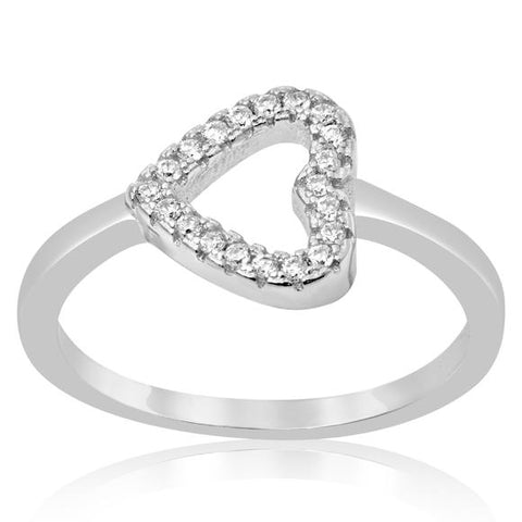 New Sideways Open Heart CZ 925 Sterling Silver Ring