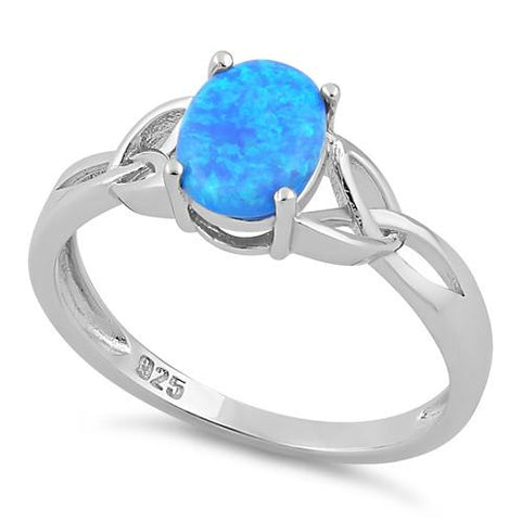 Blue Opal Oval Plain .925 Sterling Silver Ring