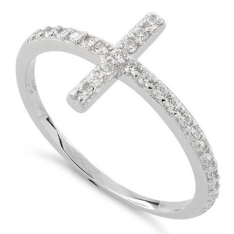 New 925 Sterling Silver Cross Clear CZ Ring