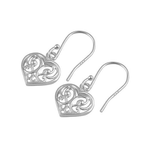 925 Sterling Silver Decorative Heart Hook Earrings