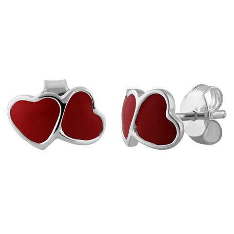 925 Sterling Silver Red Enamel Double Heart Earrings