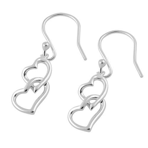 925 Sterling Silver Double Heart Hook Earrings