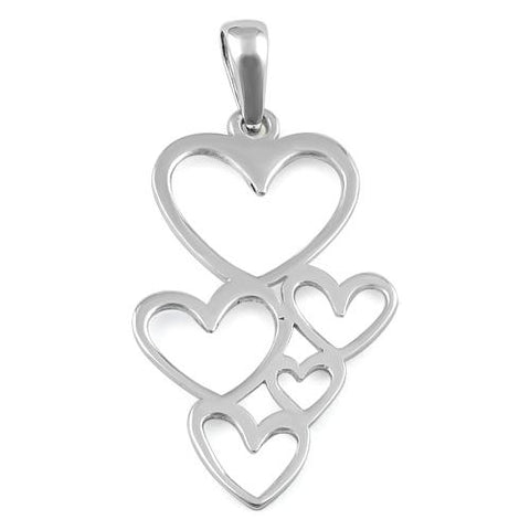 Plain 925 Sterling Silver Floating Hearts Pendant