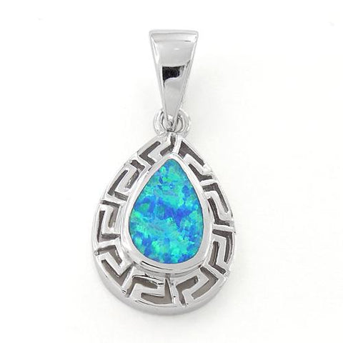 925 Sterling Silver Lab Opal Greek Pattern Drop Pendant