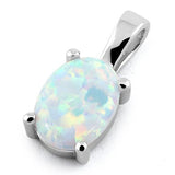 925 Sterling Silver White Lab Opal Oval Pendant