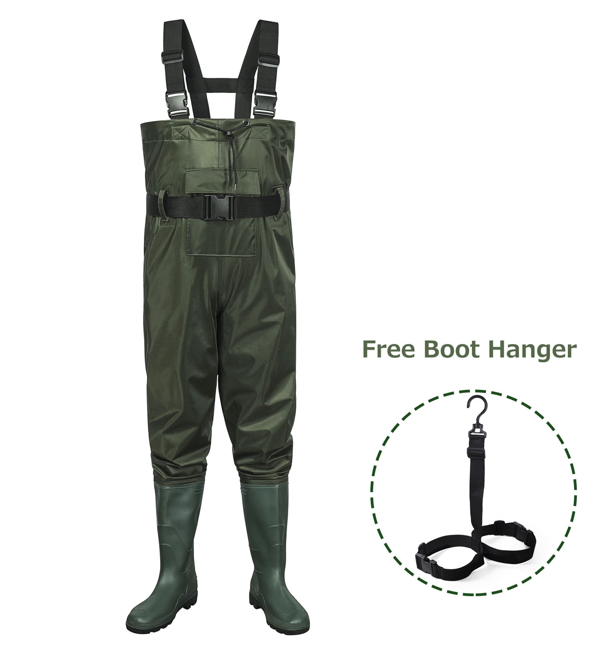 Toandon Fishing Chest Waders with Boots for Adults - Army Green