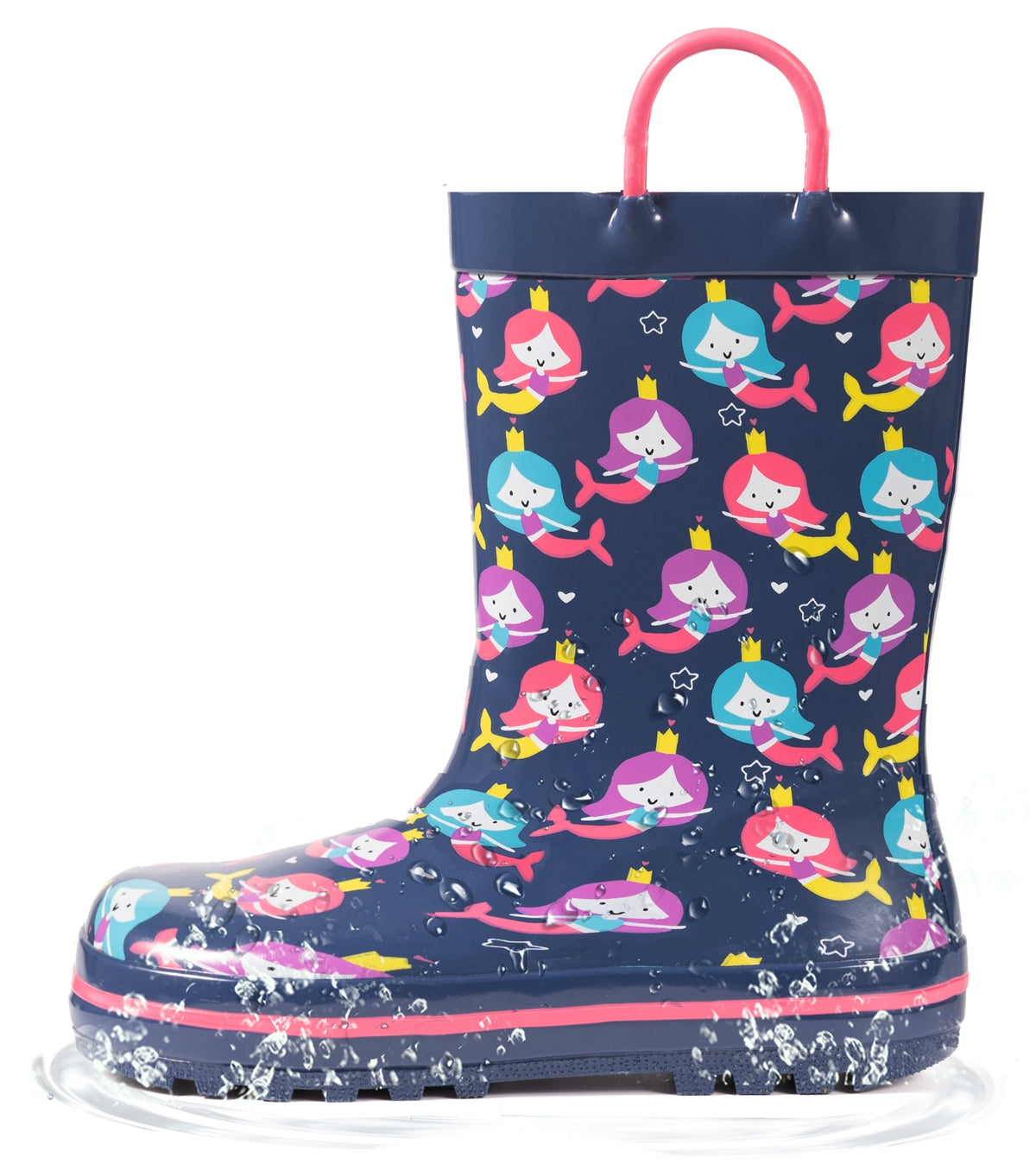 Outee Toddler Kids Girls Rubber Rain Boots Cute Printed with Easy-On Handles - Blue Mermaid