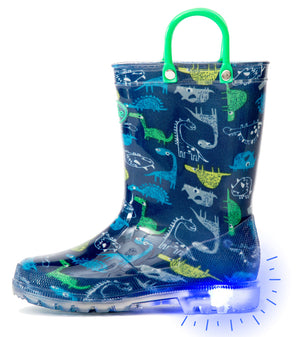 Open image in slideshow, Outee Toddler Boys Kids Adorable Printed Light Up Rain Boots - Blue Dinosaur