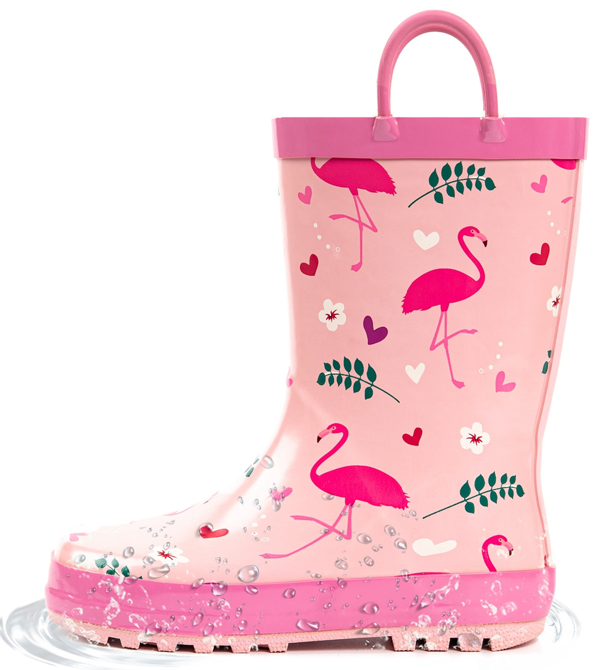 Outee Toddler Kids Girls Rubber Rain Boots Cute Printed with Easy-On Handles - Pink Flamingo