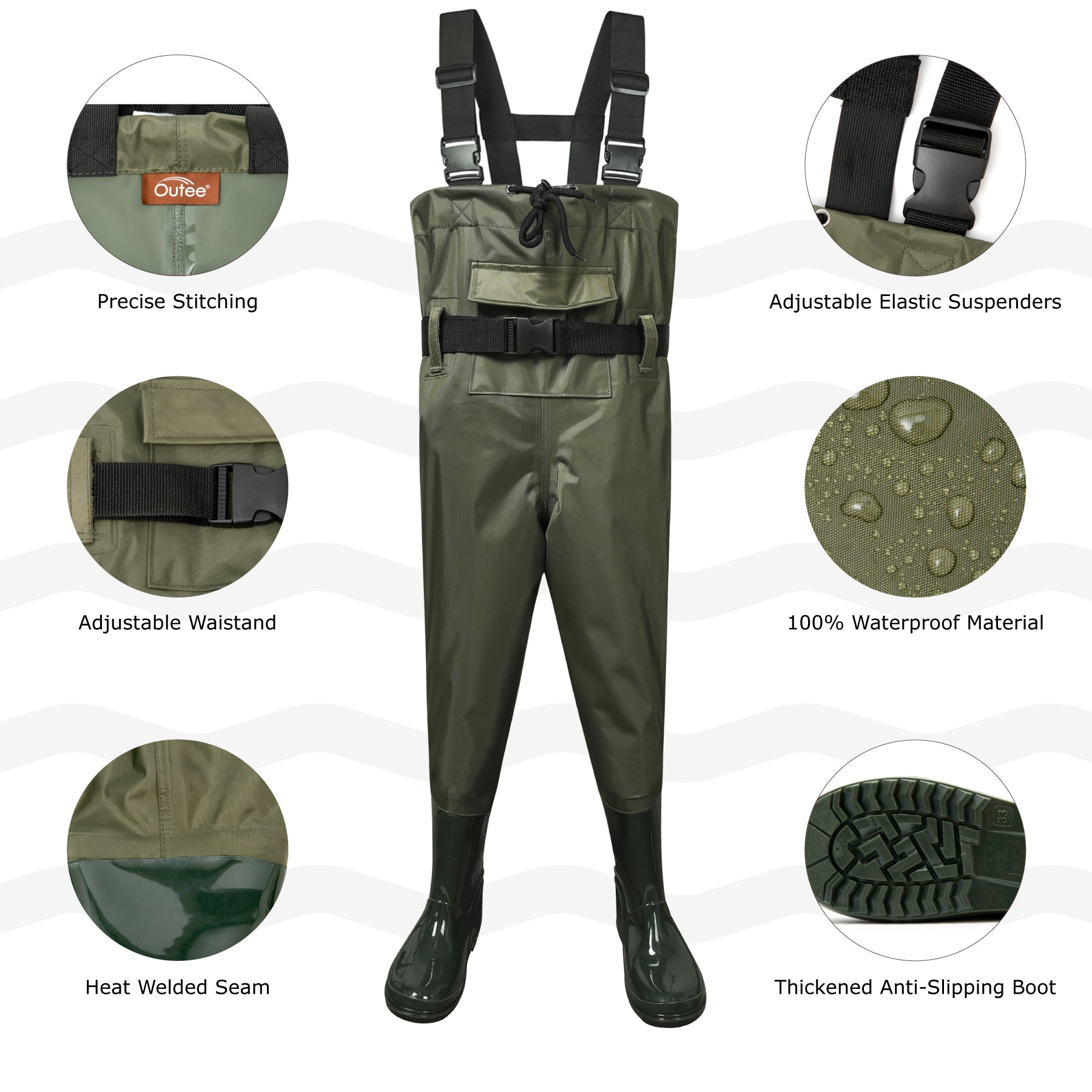 Toandon Fishing Chest Waders with Boots for kids - Army Green