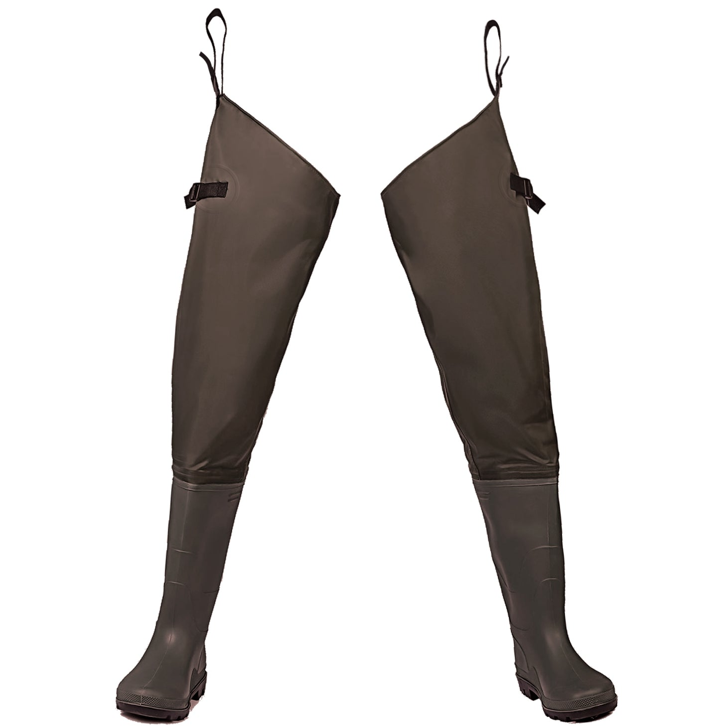 Toandon Fishing Hip Waders with Boots for Adults - Brown