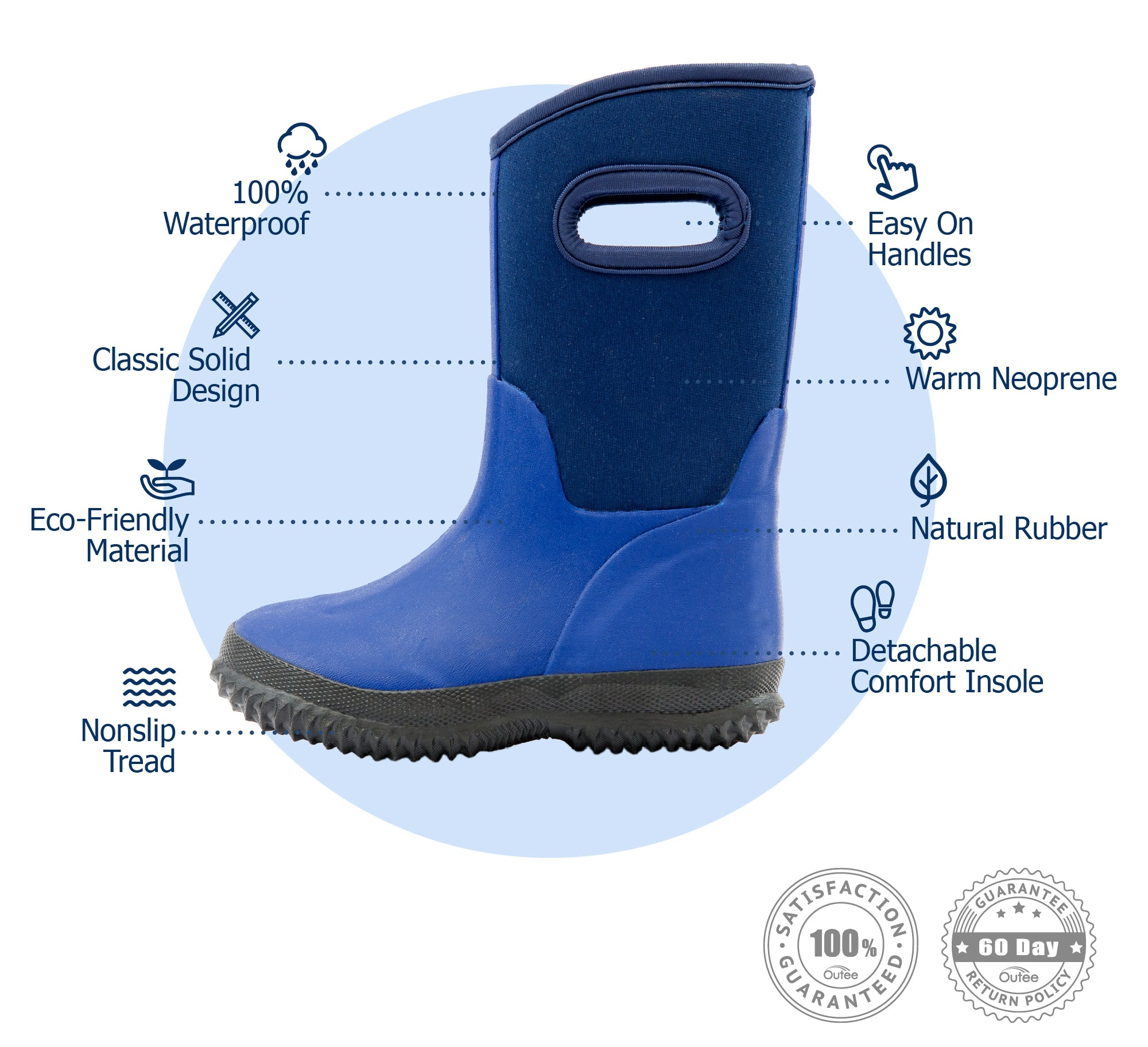 Outee Kids Boys Neoprene Snow Boots Mud Boots - Blue