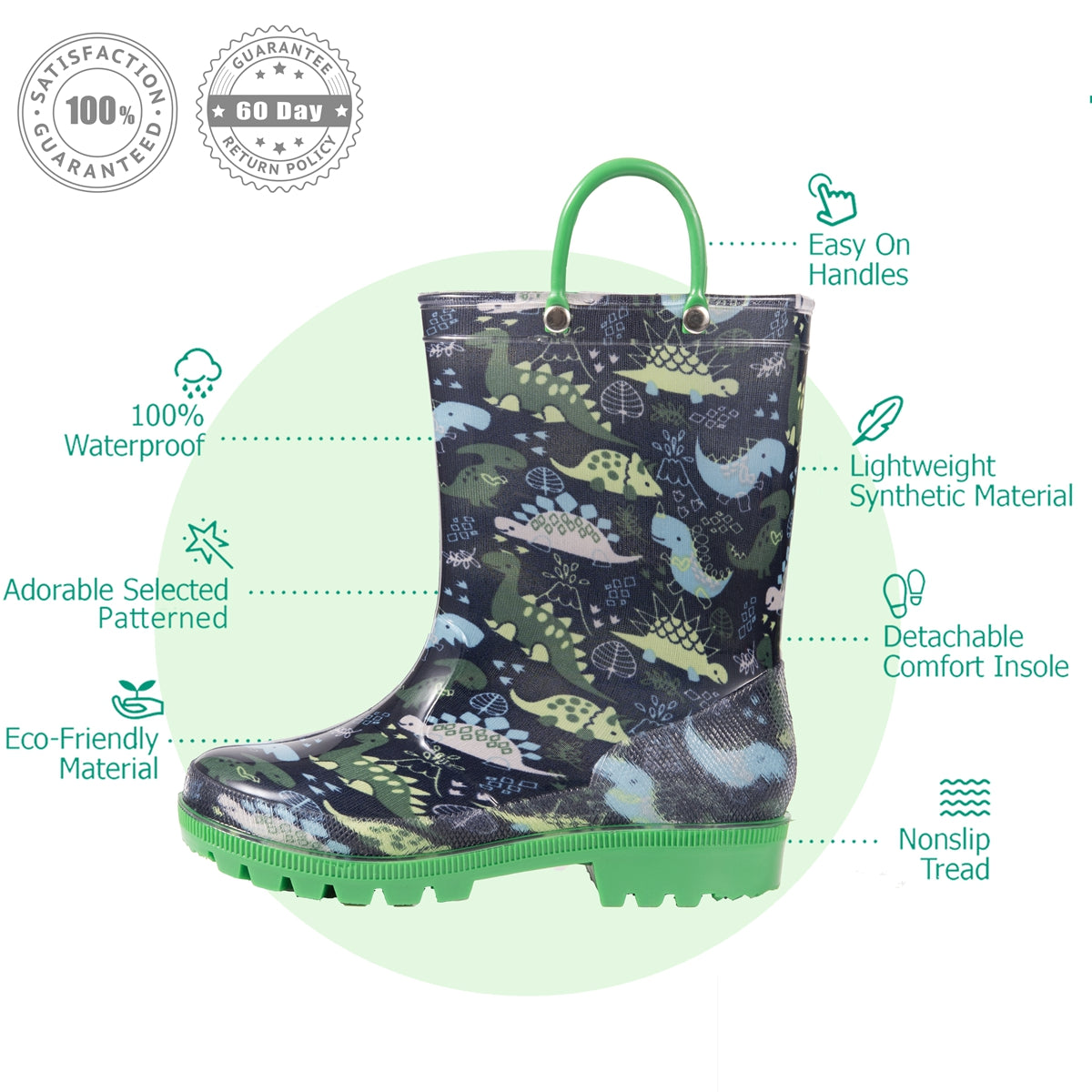 Outee Boys Lightweight Rain Boots - Green Dinosaur