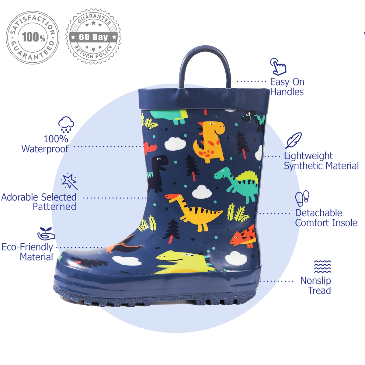 Outee Toddler Kids Boys Rubber Rain Boots Cute Printed with Easy-On Handles - Navy Dinosaur