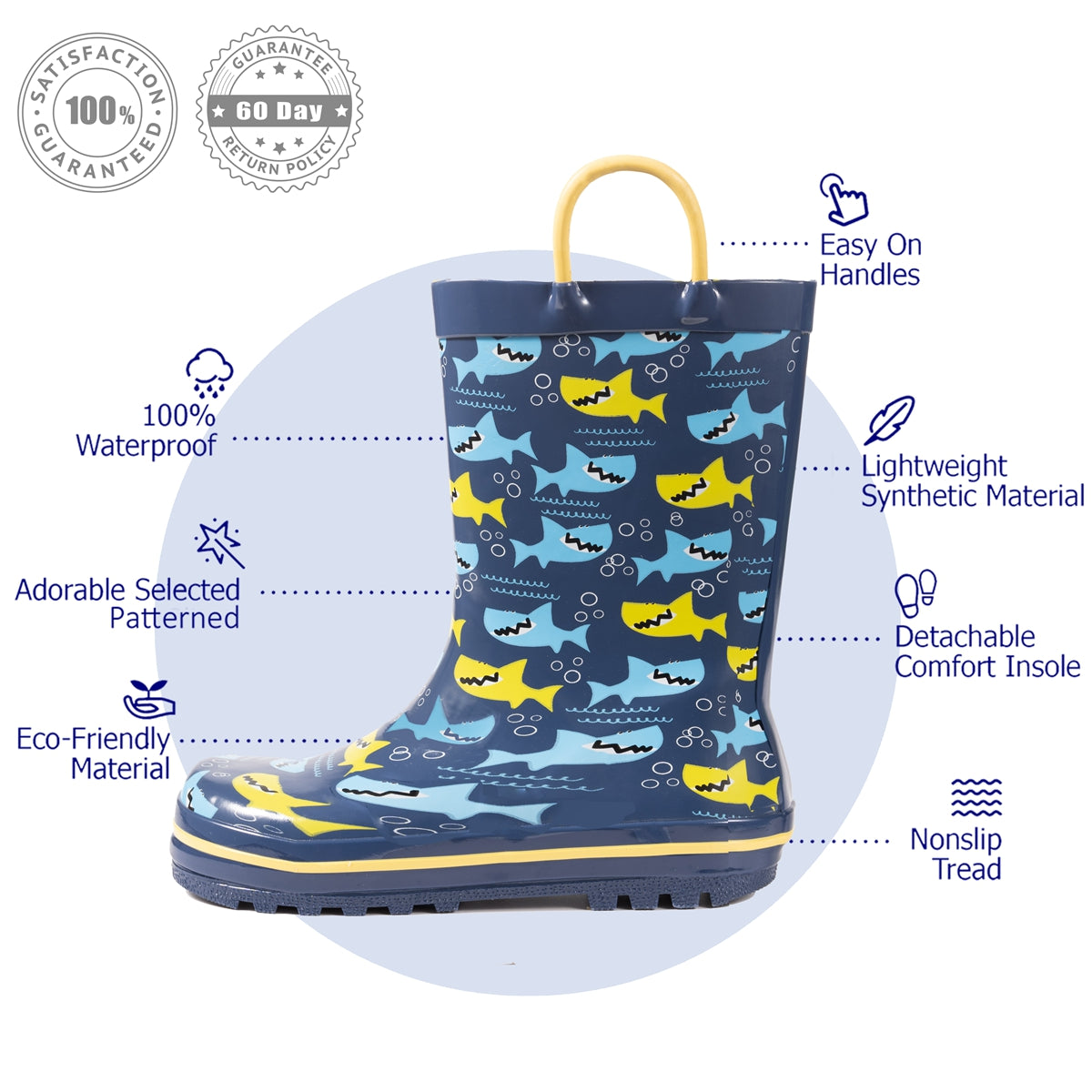 Outee Toddler Kids Boys Rubber Rain Boots Cute Printed with Easy-On Handles - Navy Shark