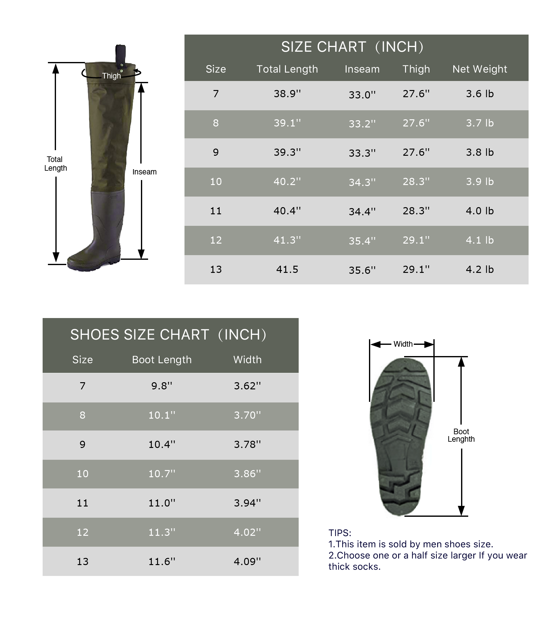 Toandon Fishing Hip Waders with Boots for Adults - Army Green