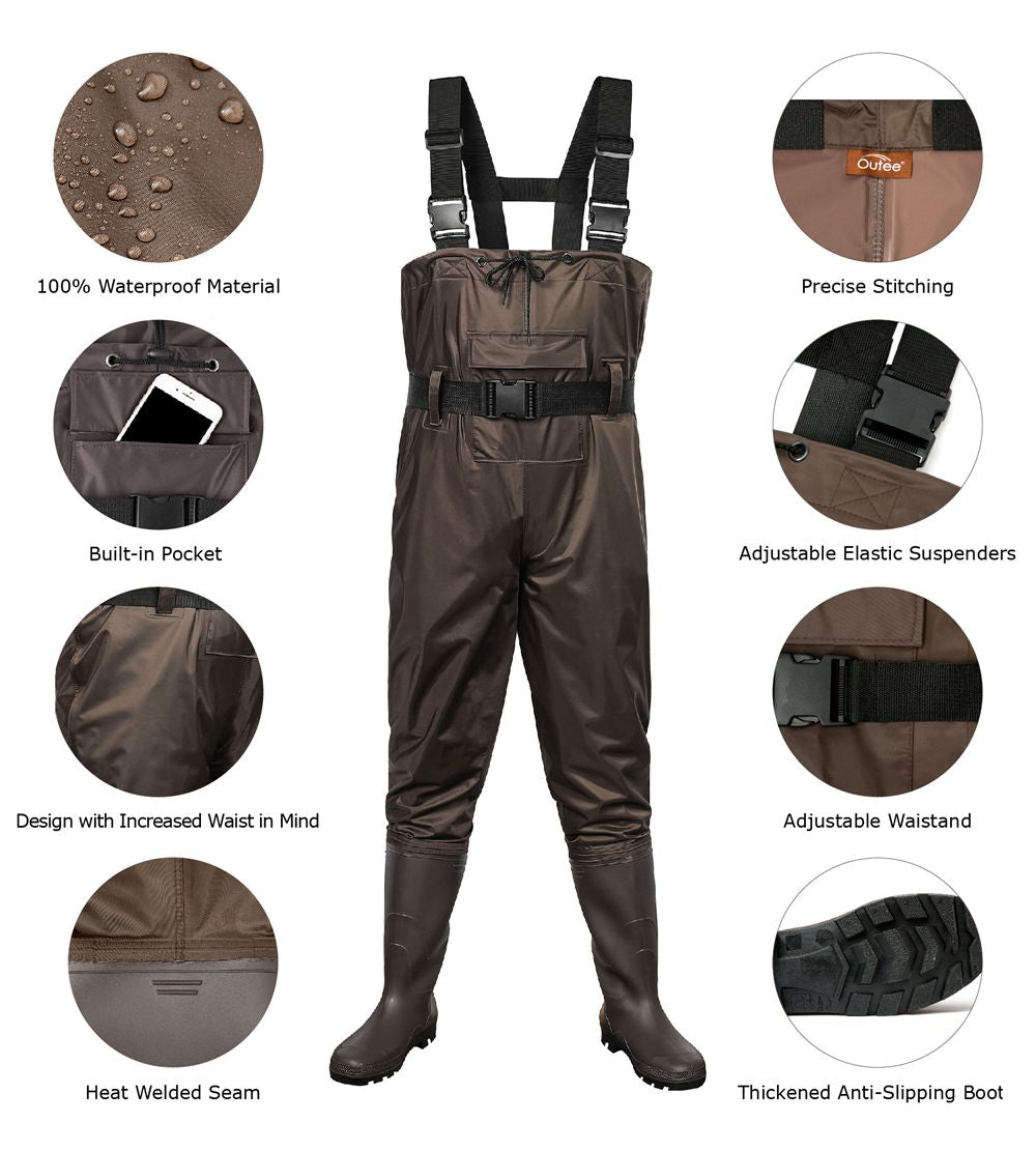 Outee Waders Fishing Waders with Boots Waterproof Chest Bootfoot Waders Hunting Chest Wader for Men Women