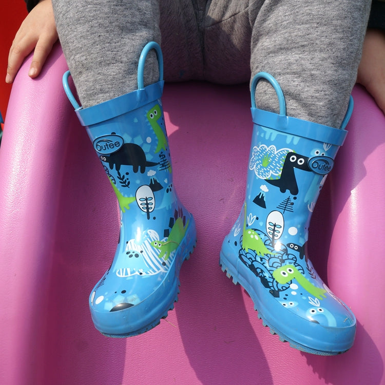Outee Toddler Boys Rain Boots Rubber Cute Printed with Easy-On Handles
