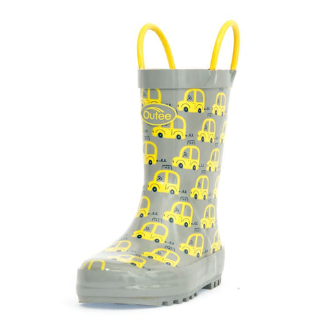 Image of Outee Toddler Boys Rain Boots Rubber Cute Printed with Easy-On Handles