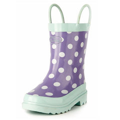 Outee Toddler Girls Rain Boots Rubber Cute Printed with Easy-On Handles
