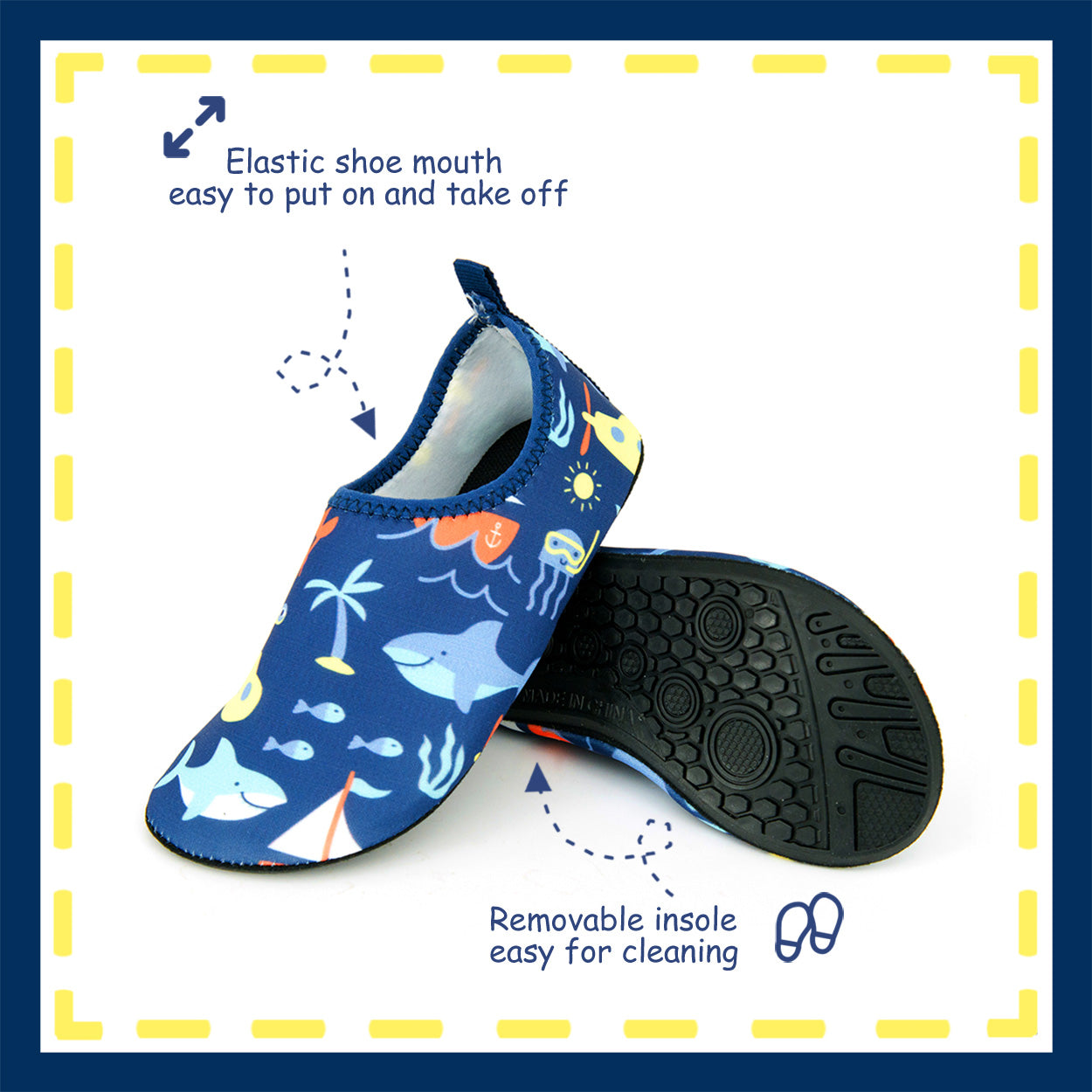 Toandon Toddler Kids Boys Girls Adorable Printed Water Shoes - blue ocean