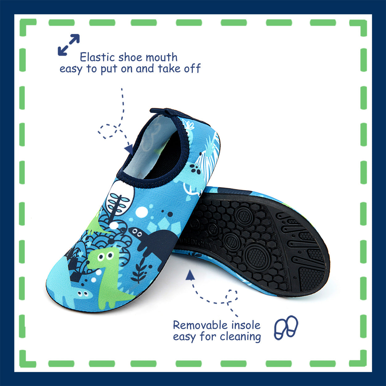 Toandon Toddler Kids Boys Adorable Printed Water Shoes - blue dinosaur