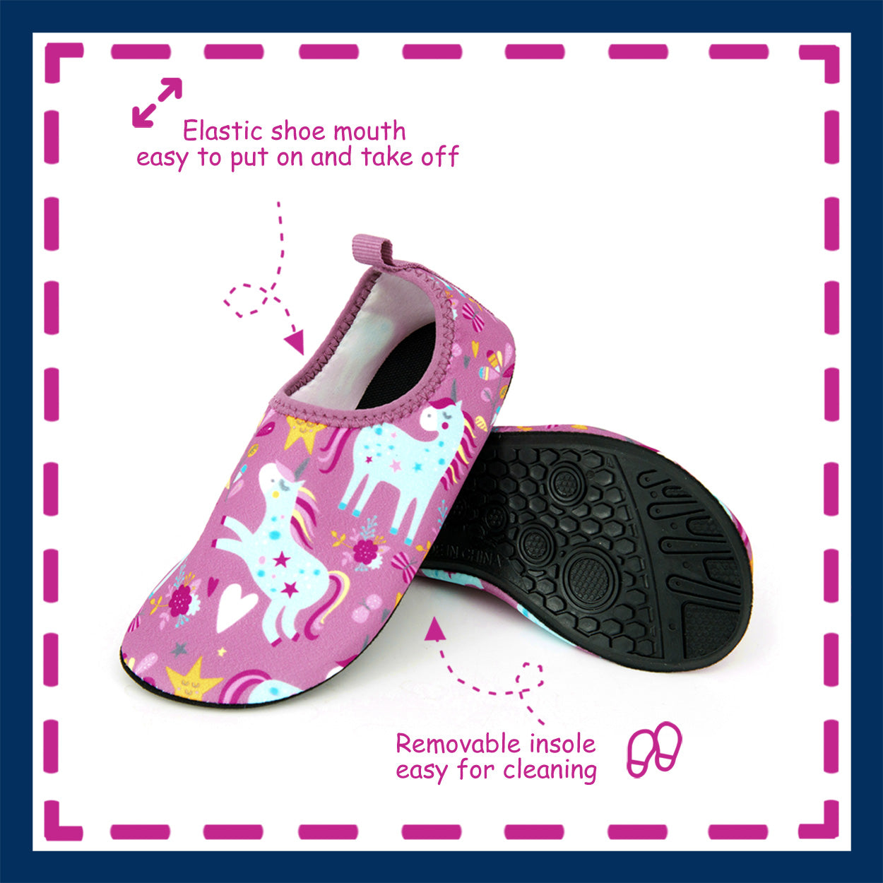 Toandon Toddler Kids Girls Adorable Printed Water Shoes - pink unicorn