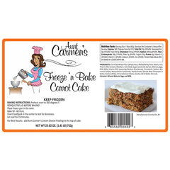 "Gourmet Freeze 'n' Bake Carrot Cake <p style=""color:#01d4c5;"">(Pre Baked)</p>"