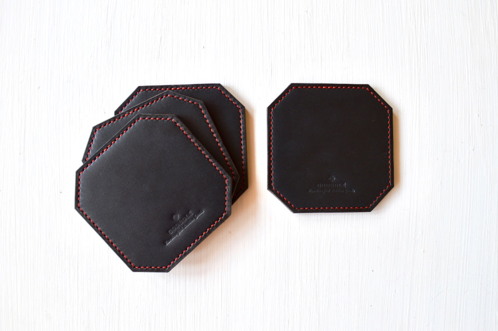 Spill-safe Leather Coasters - Black