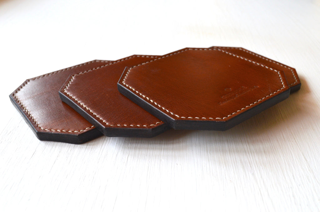 Spill-safe Leather Coasters - Buck Brown