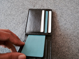 Inside View. Full Grain Black Leather Wallet. Handmade with Italian vegetable tanned leather.