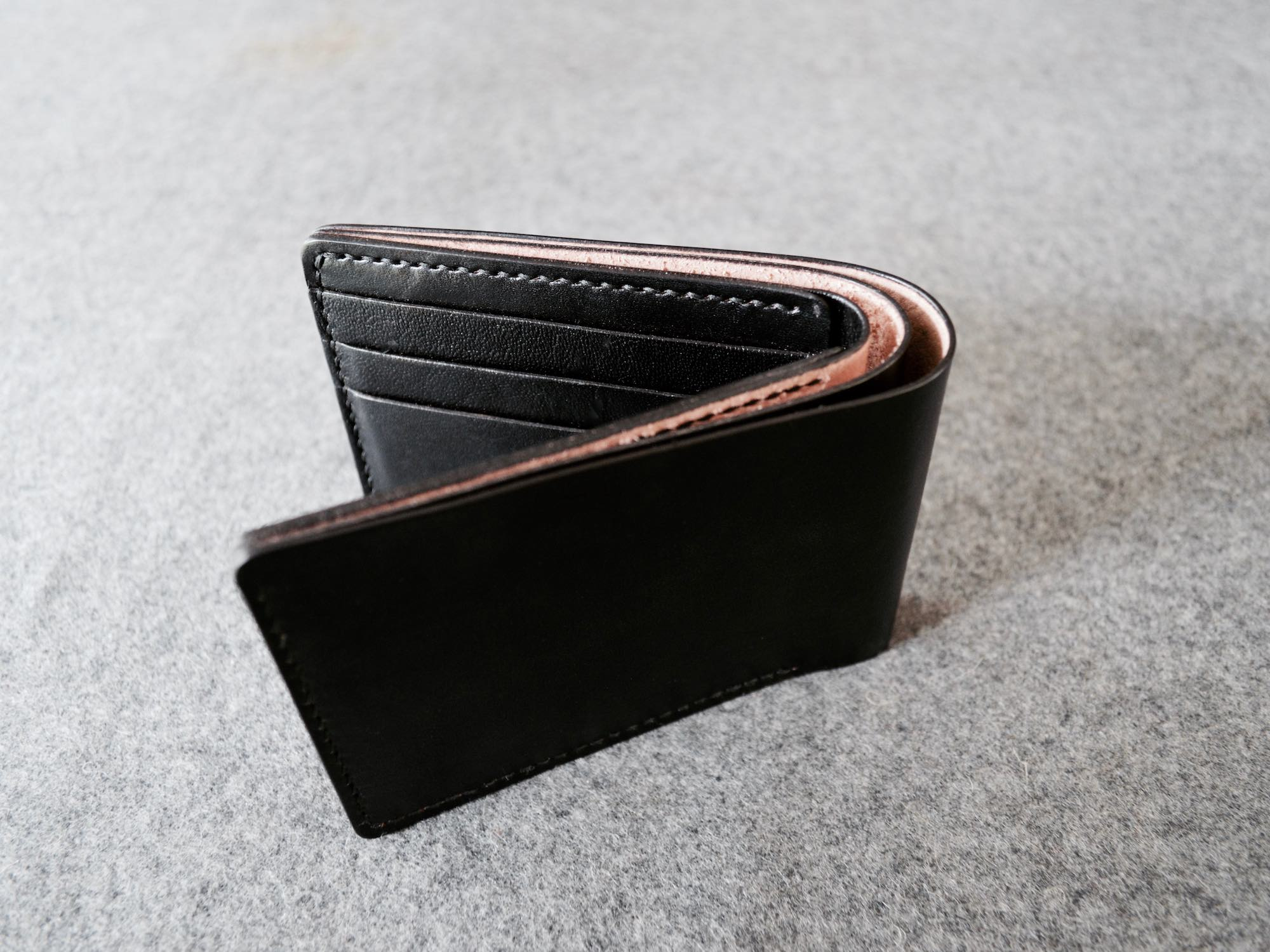 Full Grain Black Leather Wallet. Handmade with Italian vegetable tanned leather. 6-10 cards and lots of cash