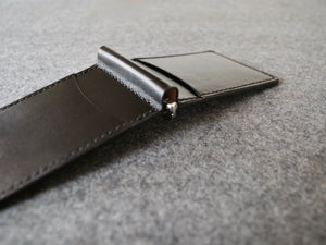 Full Grain, Black Money Clip Wallet. Handmade with Italian vegetable tanned leather. 6-10 cards and lots of cash