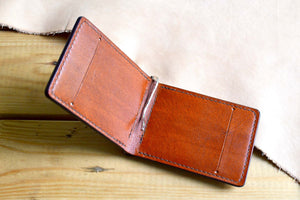 Full Grain, Brown Money Clip Wallet. Handmade with Italian vegetable tanned leather. 6-10 cards and lots of cash