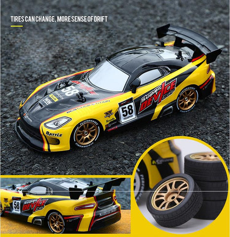 Dodge Viper Drift Toy Yellow with Spare Tires