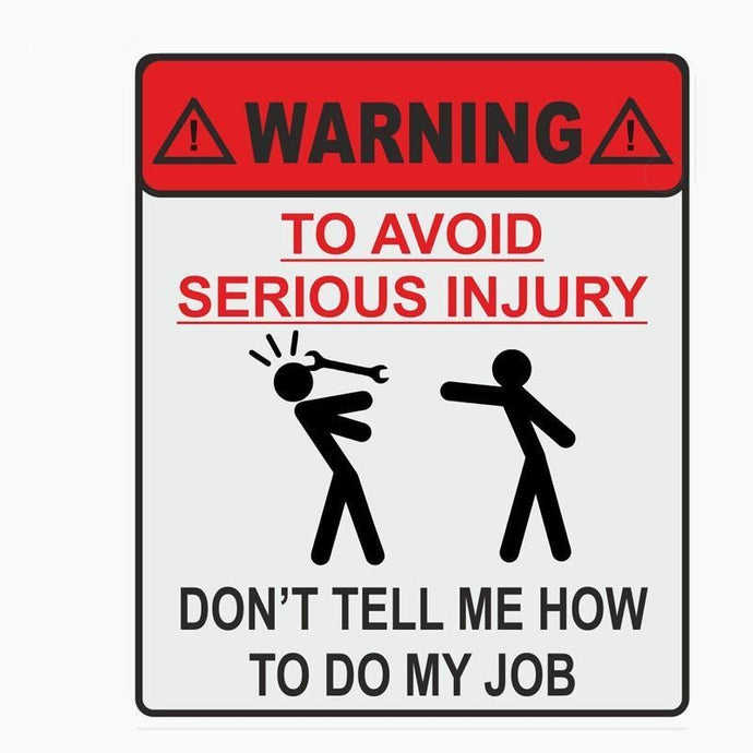 Avoid Serious Injury Warning Sticker