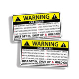 Car Safety Warning Rules Sticker