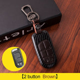 Carbon fiber+Leather Car Key Case For Fiat Dodge Charger Dart Challenger Durango Jeep Grand Cherokee Chrysler 300 Smart Key Case