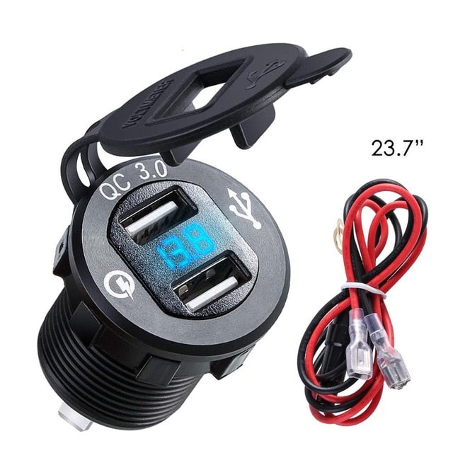 SOONHUA QC 3.0 Car Charger Dual USB Aluminum Socket Power Outlet Charger With Digital Voltage Display For 12V/24V Car Motorcycle