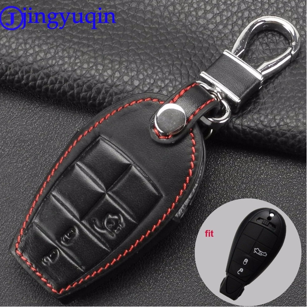 jingyuqin Leather Car Key Cover Fob Cases For Dodge Challenger Charger Magnum Journey Ram Jeep Commander Grand Cherokee Chrysler