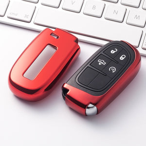 Red Soft Protective key Case Shell Cover for Jeep Dodge Challenger Charger Chrysler