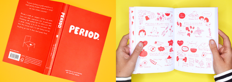 Red book titled 'Periods' - a book explaining everything you need to know about periods