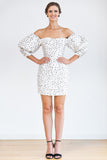 Scrunch Sleeve Party Dress - Textured Polka Dot